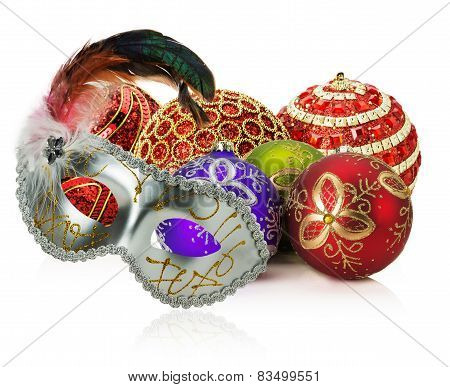 Christmas Balls And Carnival Mask On The White Background