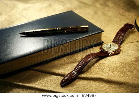 Note book pen & watch