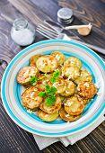 image of marrow  - fried marrow with garlic on the plate - JPG