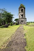 stock photo of luzon  - Cagsawa Ruins are the remnants of an 18th century Franciscan church built in 1724 and destroyed by the 1814 eruption of the Mayon Volcano - JPG