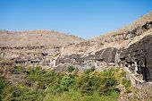stock photo of ellora  - Ajanta caves near Aurangabad Maharashtra state in India - JPG