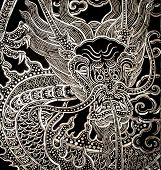 stock photo of oyster shell  - Traditional Thai style church door art decorated with pieces oyster shell - JPG