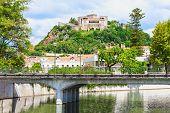 stock photo of castle  - The Leiria Castle is a castle in the city Leiria in Portugal - JPG