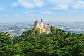 stock photo of palace  - The Pena National Palace is a Romanticist palace in Sao Pedro de Penaferrim Sintra Portugal - JPG