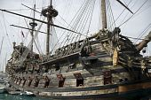 stock photo of pirate ship  - Old traditional pirate ship armed with cannons - JPG