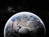 foto of lunar eclipse  - Illustration of an eclipse on the planet Earth in space - JPG