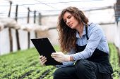 foto of genetic engineering  - Beautiful young biotechnology woman engineer with clipboard and pen - JPG