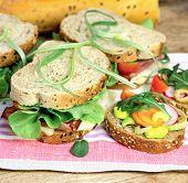 picture of sandwich  - Vegetarian sandwich and ham sandwich on table  - JPG