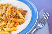 stock photo of ground-beef  - Penne pasta with ground beef meat sauce - JPG
