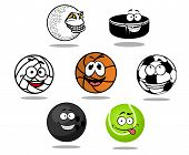 Постер, плакат: Cartoon game balls characters