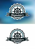 pic of shipbuilding  - Shipbuilders heraldic banner or emblem with helm - JPG