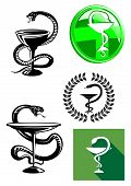 foto of chalice  - Set of pharmacy icons with medicine symbol of a cup or chalice with a snake twined around its stem and poised above it - JPG
