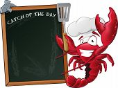 image of lobster  - Great illustration of a happy lobster chef waving his Spatula next to a chalkboard - JPG