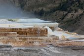 stock photo of mammoth  - The top pool of Mammoth Hot Springs with rising steam and bacteria living in the water forming various colors and mineral pools in Yellowstone National Park - JPG