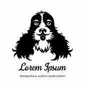 picture of veterinary clinic  - English cocker spaniel black dog logo - JPG
