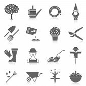 pic of scarecrow  - Vegetable garden watering hose black icons set with cartoon character silhouette and scarecrow abstract  isolated vector illustration - JPG