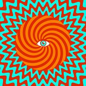 foto of hypnotic  - Vector color hypnotic retro poster with eye - JPG