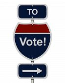 pic of voting  - Going to Vote Blue and Red Interstate Sign with word Vote and an arrow isolated over white - JPG