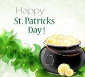 image of gold panning  - Leprechaun pot on clover and gold coins - JPG