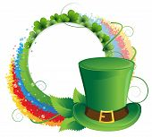 stock photo of leprechaun hat  - Rainbow clover and Leprechaun hat on white background - JPG