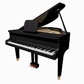 stock photo of grand piano  - Black Grand - JPG