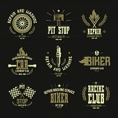 picture of color wheel  - Car races and service badges and logo in retro style - JPG