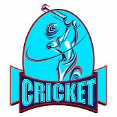 stock photo of cricket bat  - vector illustration of cricket player playing with bat - JPG