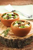 pic of stew pot  - vegetable stew with mushrooms in clay pots on a wooden stand - JPG