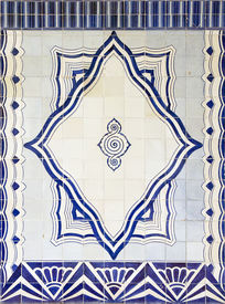 pic of ceramic tile  - Traditional blue colored tiles decorating the entrance of the Cais do Sodre train station - JPG