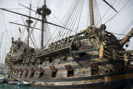 image of pirate ship  - Old traditional pirate ship armed with cannons - JPG