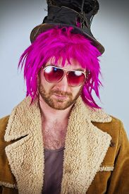 picture of bum  - Pink haired bearded cool bum lunatic man - JPG