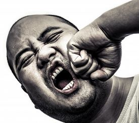 stock photo of scary face  - I bald head man got punch in the face in isolated background - JPG