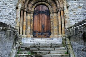 picture of entryway  - Impressive view of the unique architecture in old stone and marble church - JPG