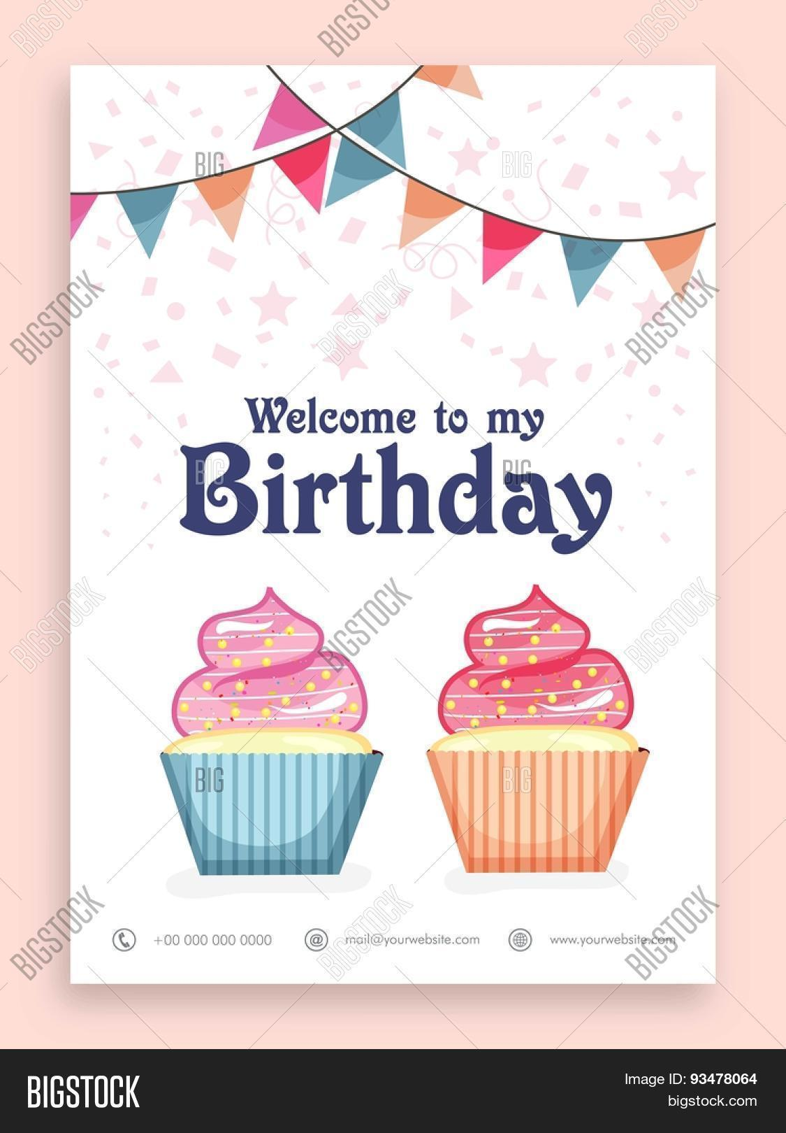 Birthday Party Celebration Welcome Vector Photo – Welcome Party Invitation Cards