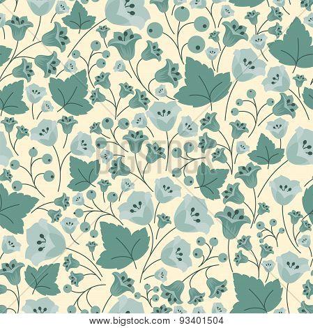 Bellflowers, berries and leaves seamless pattern