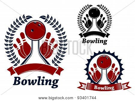 Bowling game sporting emblem or symbol