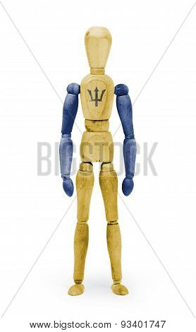 Wood Figure Mannequin With Flag Bodypaint - Barbados