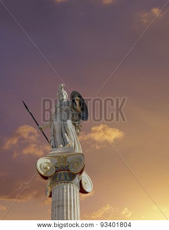 Athena statue the goddess of wisdom and philosophy