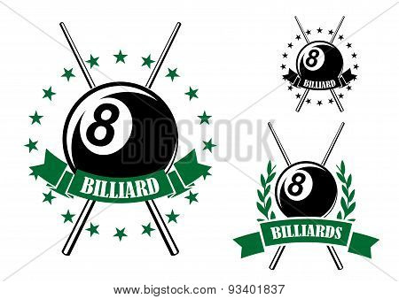 Billiards or pool sporting emblem