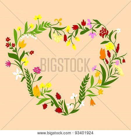 Spring wildflowers heart shaped frame