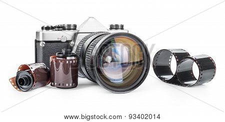 Vintage Camera And Film Isolated On A White  Background