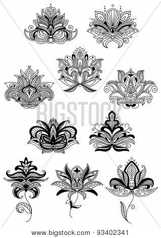 Indian stylized black paisley flowers set