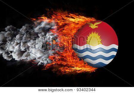Flag With A Trail Of Fire And Smoke - Kiribati