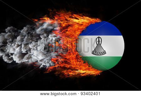 Flag With A Trail Of Fire And Smoke - Lesotho