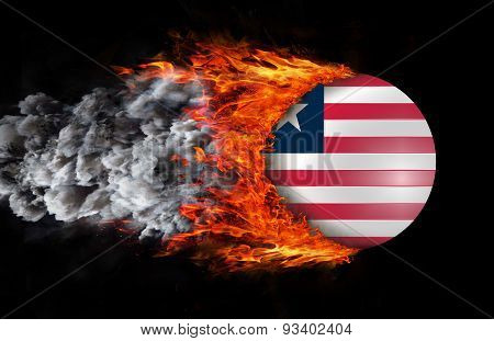 Flag With A Trail Of Fire And Smoke - Liberia