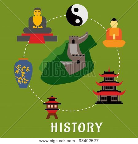 Chinese flat landmarks and religion icons