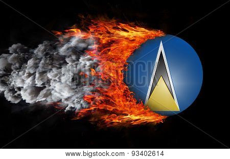 Flag With A Trail Of Fire And Smoke - Saint Lucia