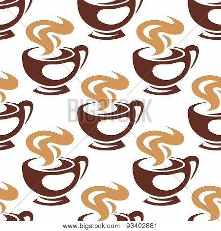 Steaming coffee cups or chocolate seamless pattern