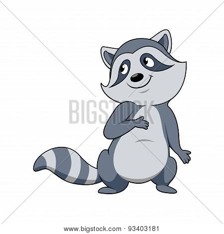 Smiling gray raccoon cartoon character