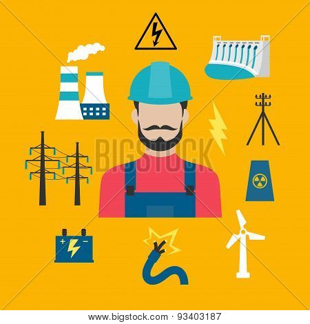 Electricity industry concept with power icons